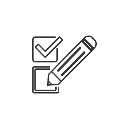 Checkbox line icon. Survey choice sign. Business review symbol. Quality design element. Classic style. Editable stroke
