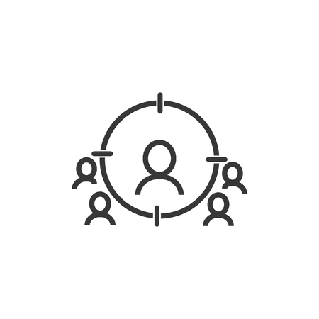 Business targeting line icon. Marketing target strategy symbol. Aim with people sign. Quality design element. Editable stroke.