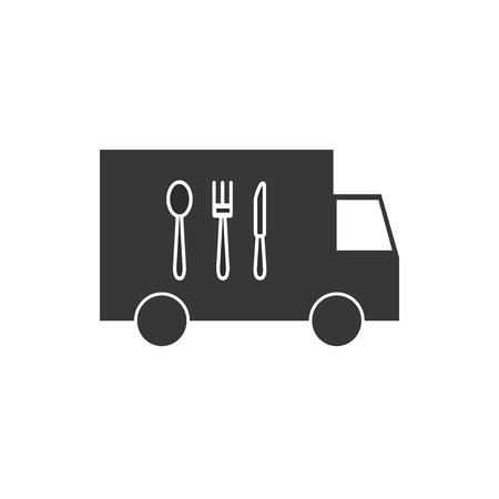 Illustration of an isolated delivery truck icon with cutlery vector