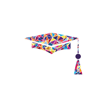 Mortar Board or Graduation Cap, Education symbol. Vector. Stained glass icon on white background. Colorful polygons.