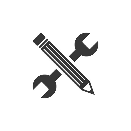 Wrench and pen - Design project - Vector web flat Stock Illustratie