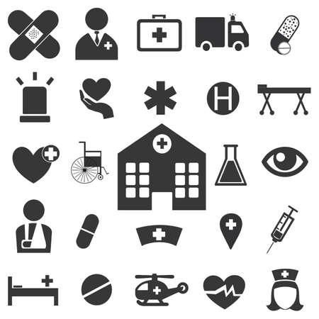 Hospital icon set on the white background