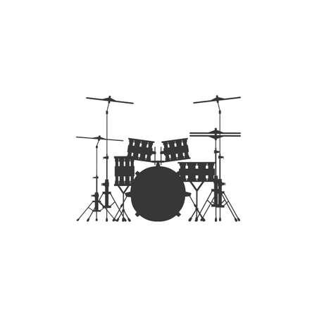 Drum set icon on gray background, round shadow.