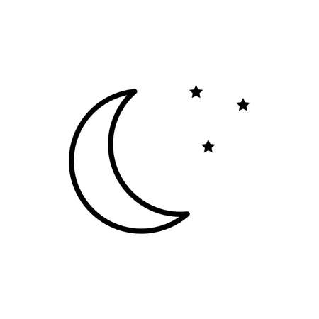 Crescent moon with stars at night, evening or nighttime flat icon for apps and websites
