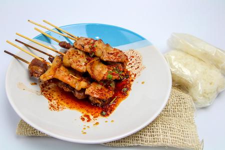 Thai styled grilled pork on white backgrond,thai food