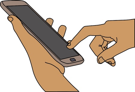 Hand hold and finger touching smartphone, closeup Stock Vector - 21576838