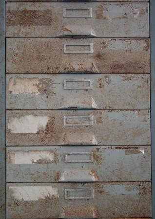 Rust old metal file cabinet  Standard-Bild