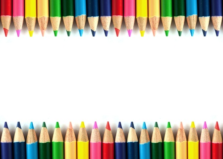 Color pencils isolated on white background close up. photo