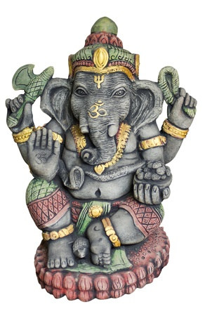 Hindu God Ganesh over a white background photo