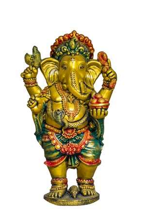 Golden Hindu God Ganesh over a white background photo