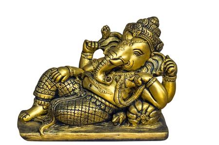 Golden Hindu God Ganesh over a white background Standard-Bild