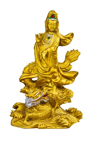 Golden Guan-Yin Isolate on white background photo