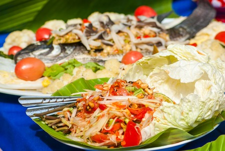 Spicy Papaya salad mix crab, Thai food photo