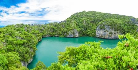 angthong: View of Ang Thong National Marine Park near Samui island, Thailand, Sky Cloudy.