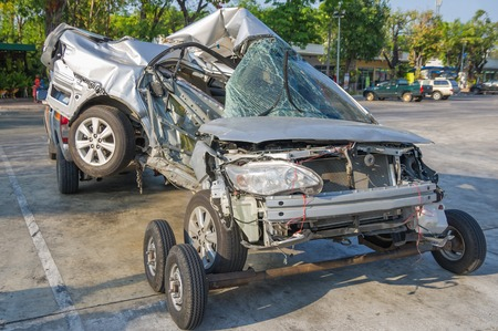 fender: Damaged vehicle after car accident Stock Photo