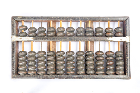 vintage abacus isolated on white background, concept for calculation or accounting photo