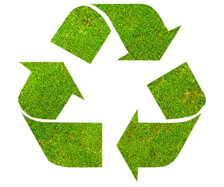 international recycle symbol: The international Recycle symbol with green moss texture, isolated on white background