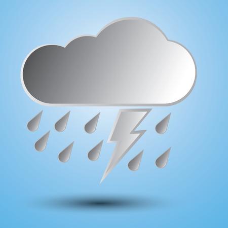 the rainy season: Rainy season with raindrops lighting and clouds.