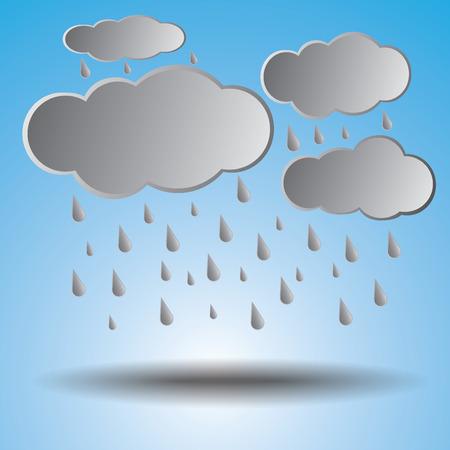 the rainy season: Rainy season with raindrops and clouds.