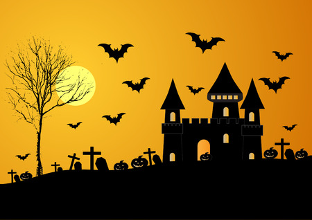 Vector illustration of haunted old castle in scary Halloween night