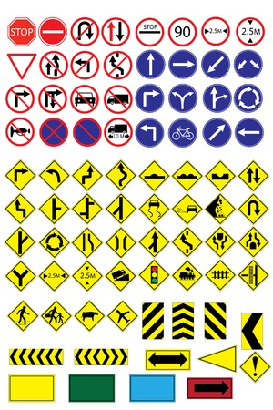 Many  highly detailed and fully editable vector Traffic-Road Sign Collection.