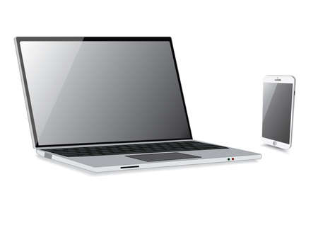 isolation: Laptop isolation with smartphone isolate. Vector