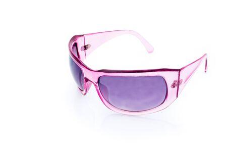 glamorous: Women glamorous pink sunglasses isolated on white Stock Photo