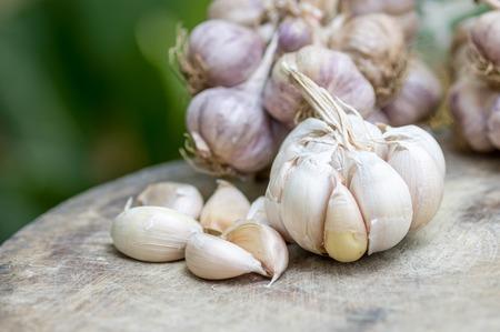 alliaceae: Close up of purple garlic on wooden background (Alliums, Alliaceae) Stock Photo