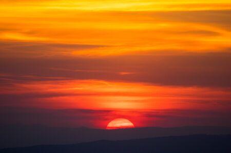 Landscape of sunrise over mountains