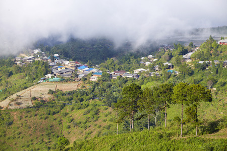 village on hill  photo