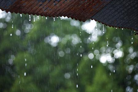 屋根から雨ドロップ 写真素材
