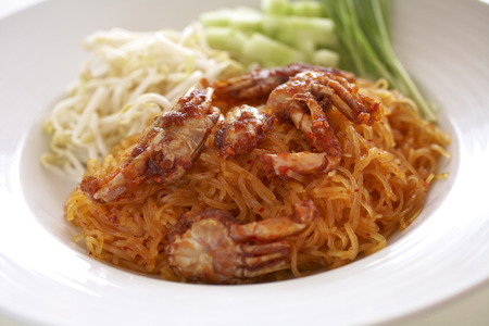 spicy noodle fried and crab photo