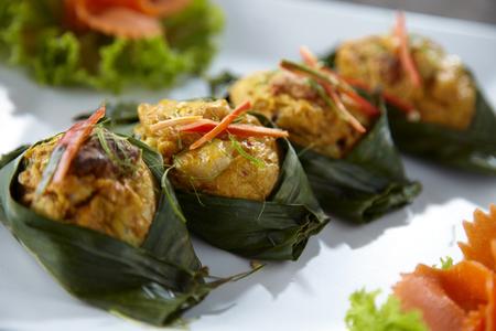malaysian food: thai yellow curry steam in sun light