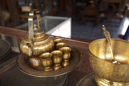 chinese golden tea pot and cup in thailand photo
