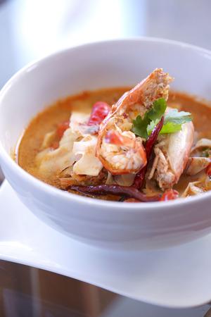 thai spicy shrimp soup in thailand