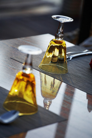 restuarant: two brown glass on table in restuarant Stock Photo