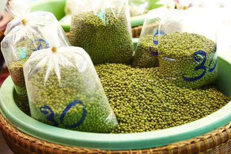 green bean: many green bean in plastic basket