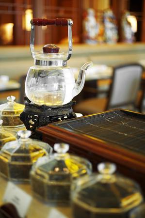 chinese tea pot: close up chinese tea pot in restaurant