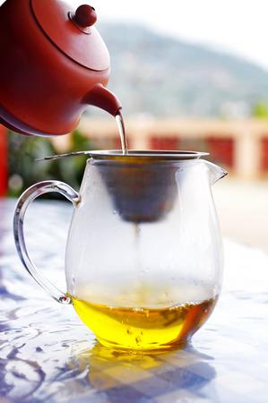 yellow tea pot: close up chinese hot tea in glass pot
