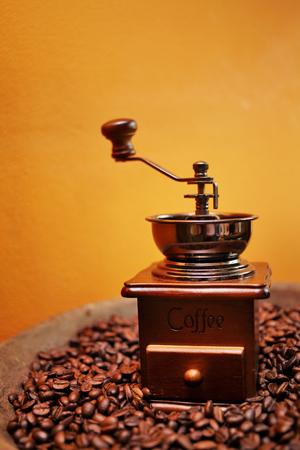 grinder machine: close up coffee grinder machine in coffee shop