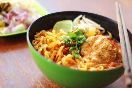 asian food: close up thai northern spicy pork noodle in cup