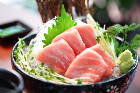 japanese foods: close up japanese food from tuna in ceramic dish