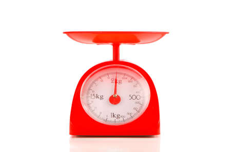 kilograms: close up red plastic kilograms scale on white background