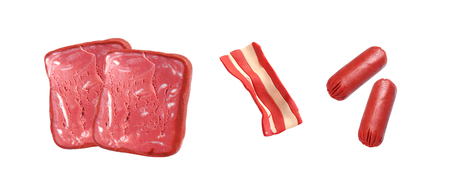bacon art: miniature sausage and ham model from japanese clay on white background Stock Photo