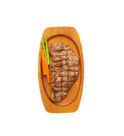 vegetable tray: beef steak and vegetable in wooden tray on white background