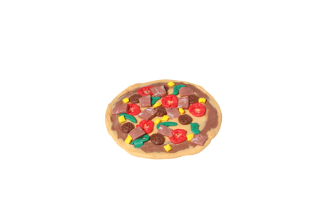 bacon art: miniature pizza model from japanese clay on white background Stock Photo
