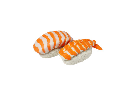 model fish: miniature sushi model from japanese clay on white background