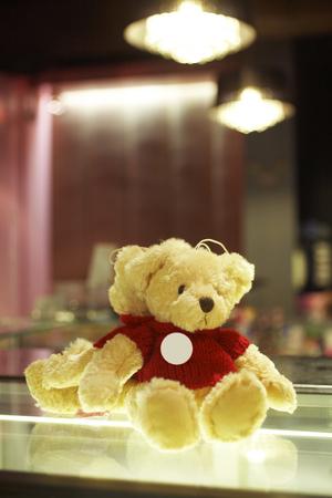 bear doll: little bear doll on table Stock Photo
