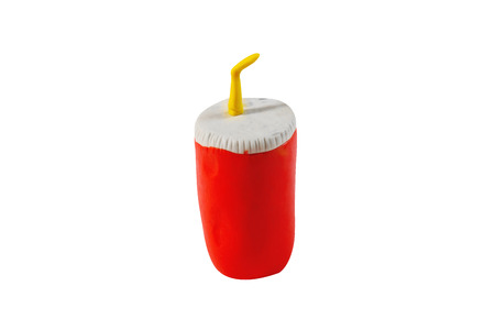cola paper cup model from japanese clay on white background