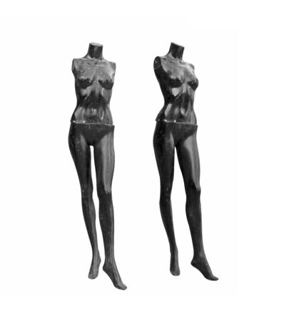 old female mannequin isolated on white background, black female mannequin